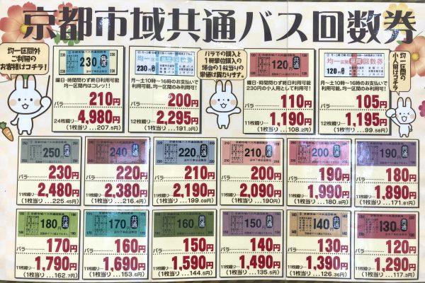 北大路ビブレ店(チケット専門店)京都市バス、京都バスなど京都市域で走るバスで使える回数券を各区間ご用意しております。