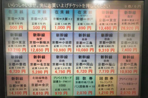 アバンティ店【自動販売機商品リスト】自動販売機内の商品リストです。交通切符もお得に購入できます!