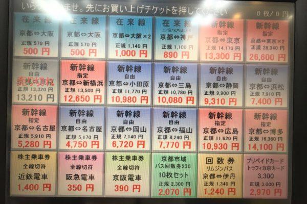 アバンティ店【自動販売機商品リスト】2020年9月26日現在の商品リストおよび販売価格です。期間限定価格としまして、「京都⇔東京(指定)」がお安くなっております!「京都⇔東京(指定)」は自由席定価よりもお安く、「京都⇔新横浜(指定)」は自由席定価と同額となっているため、こちらのチケットで自由席にご乗車いただいても大丈夫です♪そのため、「京都⇔東京(自由)」は現在、販売休止中となっております。
