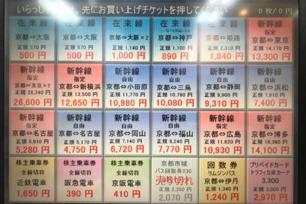 アバンティ店【自動販売機商品リスト】※現在、バス回数券は店頭のみの販売となります。 ※2021年3月31日現在の商品リストおよび販売価格です。 期間限定価格としまして、「京都⇔東京(指定)」がお安くなっております!「京都⇔東京(指定)」は自由席定価よりもお安く、「京都⇔新横浜(指定)」は自由席定価と同額となっているため、こちらのチケットで自由席にご乗車いただいても大丈夫です♪そのため、「京都⇔東京(自由)」は現在、販売休止中となっております。