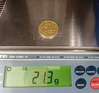 御在位60年記念金貨幣重量